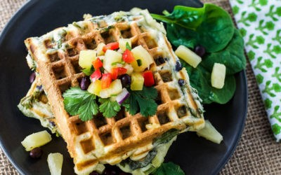 Waffle de Aveia Ricota e Espinafre